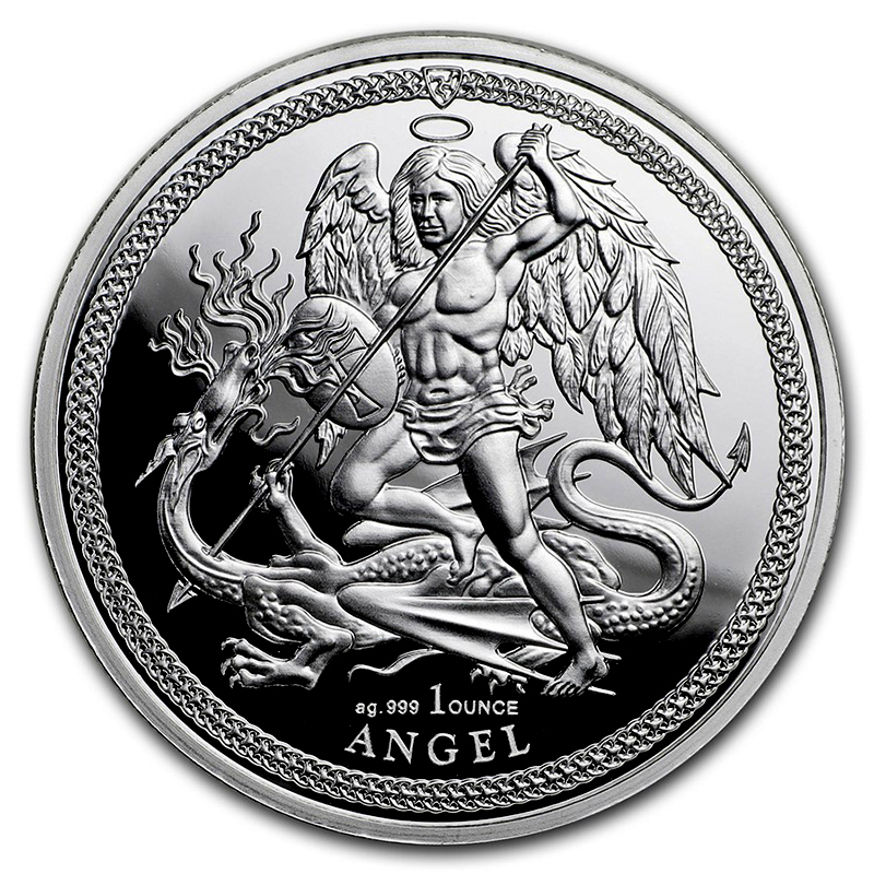 Stříbrná mince Angel Isle of Man 1 oz proof 2018
