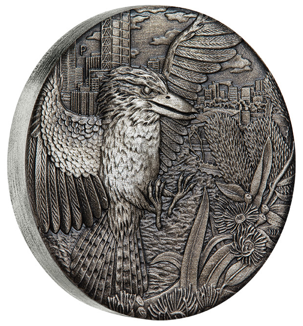 Stříbrná mince Kookaburra 2 oz antique finish