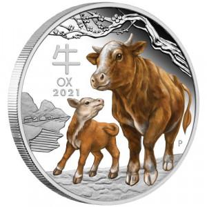 Stříbrná mince Rok Buvola 1 oz proof kolorovaná 2021 Lunární série III