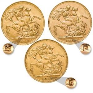 Sada zlatých mincí Sovereign 1918 mincovní trio 2018