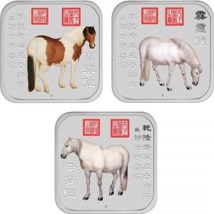 Sada 10 stříbrných mincí Rok Koně 10 x 1 oz 2014 Lunární série II