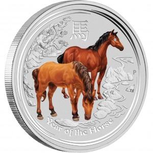 Stříbrná mince Rok Koně s drahokamem 1 kg 2014 Lunární série II