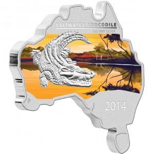 Stříbrná mince Krokodýl mořský ve tvaru australské mapy 1 oz 2014
