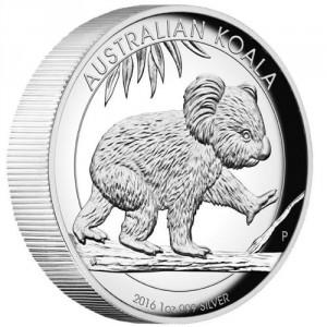 Stříbrná mince Koala 1 oz proof vysoký reliéf
