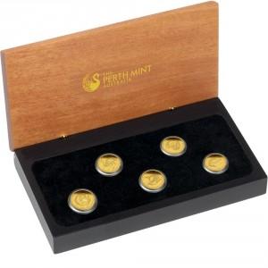 Sada 5 zlatých mincí Discover Australia 5 x 1/25 oz 2011