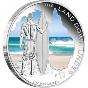Stříbrná mince Země Protinožců Surfování 1 oz proof 2013