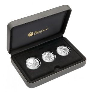 Sada 3 stříbrných mincí Australské trio vysoký reliéf 2016