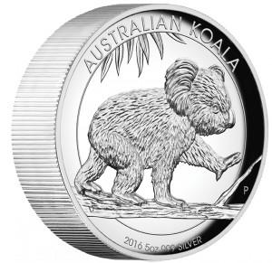Stříbrná mince Koala 5 oz proof vysoký reliéf 2016