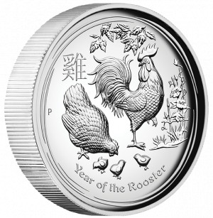 Stříbrná mince Rok Kohouta 2017 1 oz proof, vysoký reliéf