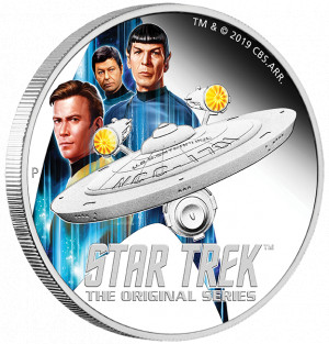 Stříbrná mince Star Trek - Enterprise + Crew 2 oz Proof 2019