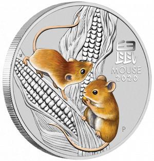 Stříbrná mince Rok Myši 1/4 oz proof kolorovaná 2020 Lunární série III