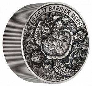Stříbrná mince Great Barrier Reef 2 kg vysoký reliéf 2021