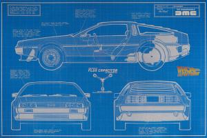 Stříbrný plakát Back To The Future - DeLorean Time Machine 35 g 2021