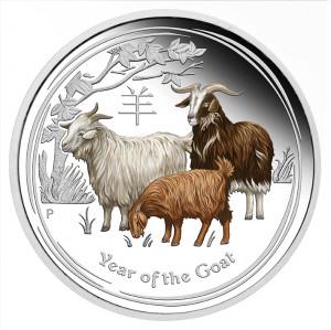 Stříbrná mince Lunární série Rok Kozy 1 oz proof kolor 2015