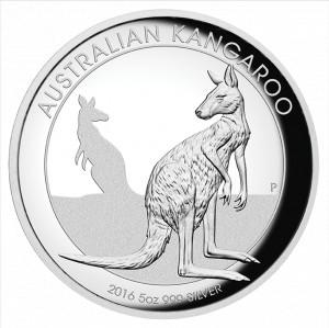 Stříbrná mince Klokan 5 oz vysoký reliéf 2016
