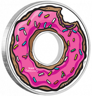 Stříbrná mince The Simpsons - donut 1 oz proof 2019
