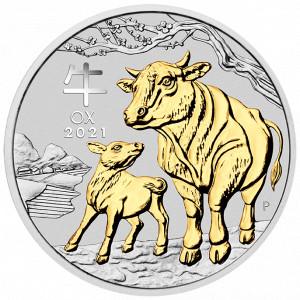 Stříbrná mince Rok Buvola 1 oz pozlacená 2021 (bez krabičky)