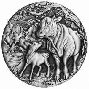 Stříbrná mince Rok Buvola 2 oz antique finish 2021