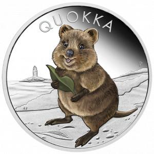 Stříbrná mince Quokka 1 oz proof kolorovaná 2021