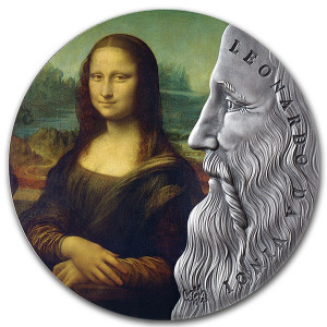 Stříbrná mince Leonardo da Vinci 2 Oz antique finish 2020