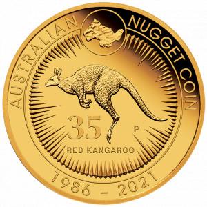 Zlatá mince Australian Kangaroo Nugget 35. výročí 1/4 oz proof 2021