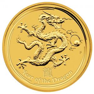 Zlatá mince Lunární série Rok Draka 1/20 oz BU 2012