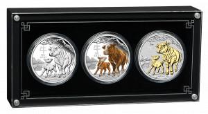 Sada stříbrných mincí Rok Buvola 3 x 1 oz 2021
