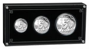 Sada 3 stříbrných mincí Rok Buvola 1/2 oz, 1 oz, 2 oz proof 2021 Lunární série III