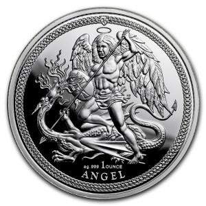 Stříbrná mince Angel Isle of Man 1 oz proof 2018
