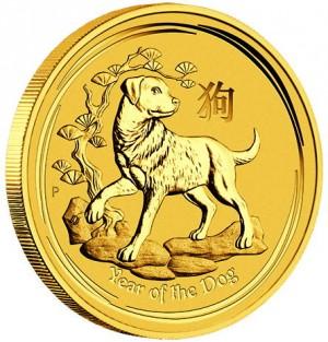 Zlatá mince Rok Psa 1/10 oz BU 2018 Lunární série II