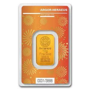 Zlatý investiční slitek Rok Buvola 2021 10 g Argor-Heraeus