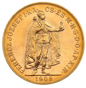 Zlatá mince 100 Koruna Uherská 1908 (novoražba)