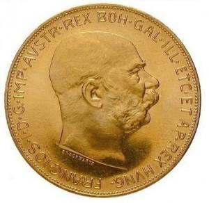 Zlatá mince 100 korun František Josef I 1 oz