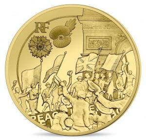 Zlatá mince Velká Válka WW I - Lidé oslavují 1/4 oz proof 2018