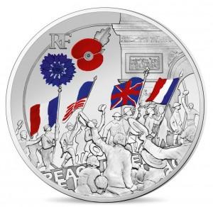 Stříbrná mince Velká válka WW I Lidé oslavují proof 2018