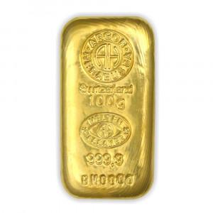 Zlatý investiční slitek 100 g (litý) Argor-Heraeus