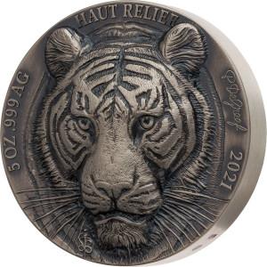Stříbrná mince Big Five Asia Tygr 5 oz, vysoký reliéf, antique finish 2021