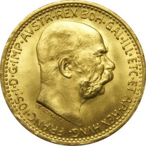 Zlatá mince 10 Koruna Františka Josefa I.