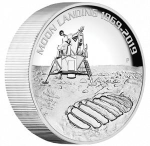 Stříbrná mince 50. výročí přistání na Měsíci 5 oz proof vysoký reliéf 2019