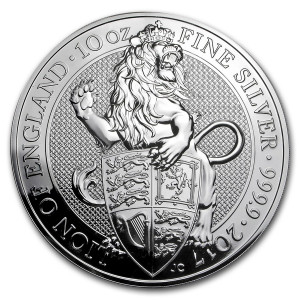 Stříbrná mince The Queen's Beasts Lion of England 10 oz