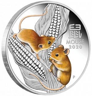 Stříbrná mince Rok Myši 1 oz proof kolorovaná 2020 Lunární série III