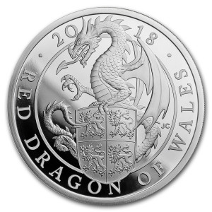 Stříbrná mince The Queen's Beasts Red Dragon 1 oz Proof 2018