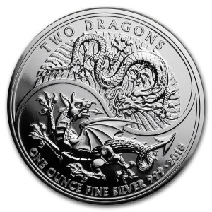 Stříbrná mince Dva draci 1 oz 2018 (The Royal Mint)