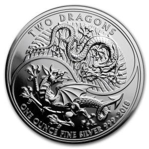 Stříbrná mince Dva draci 1 oz 2018 (The Royal Mint)