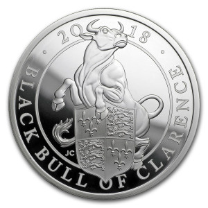 Stříbrná mince The Queen's Beasts Black Bull 1 oz proof 2018