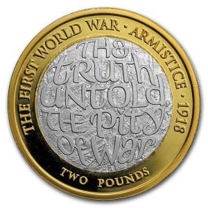 Stříbrná mince Armistice UK £2 Silver proof Piedfort 2018