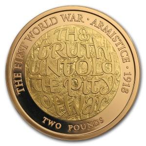 Zlatá mince Armistice UK £2 1/2 oz proof 2018