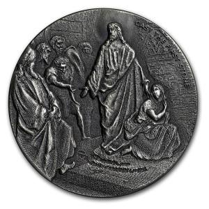 Stříbrná mince Biblická série První hodí kamenem 2 oz 2019
