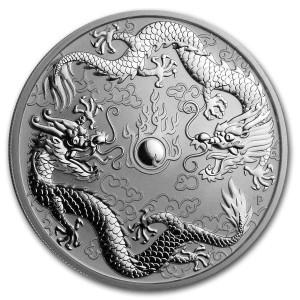 Stříbrná mince Dva draci 1 oz