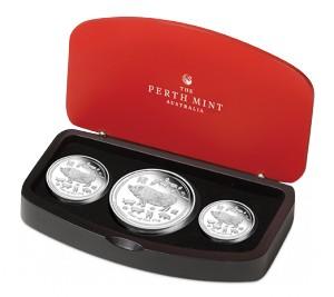 Sada 3 stříbrných mincí Rok Vepře proof 1/2 oz, 1 oz, 2 oz proof 2019 Lunární série II